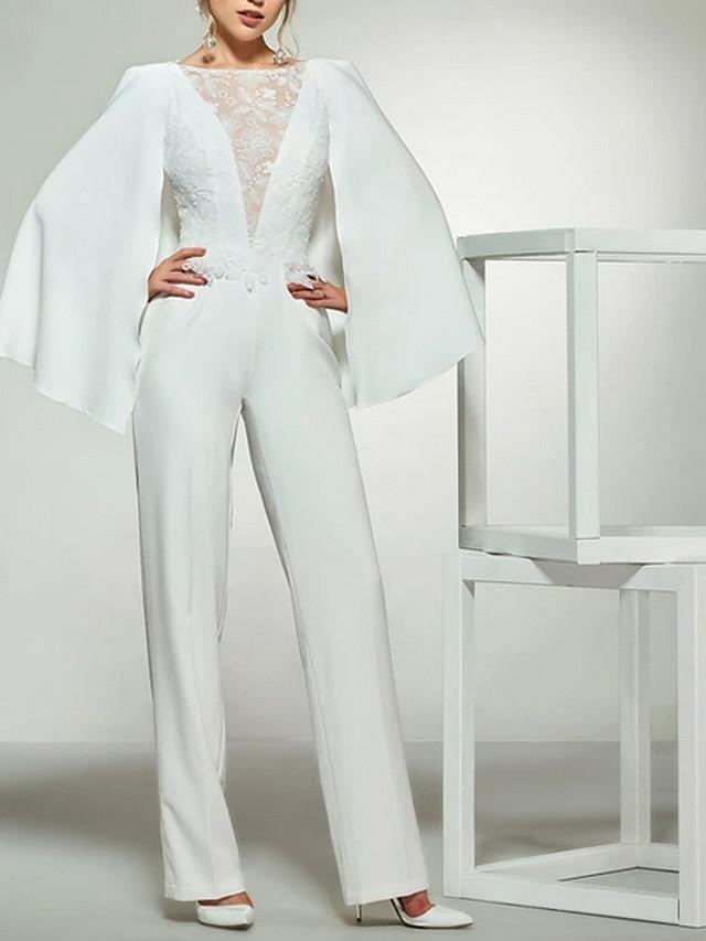 Jumpsuits Wedding Dresses Bateau Neck Floor Length Lace Satin Long Sleeve Romantic Plus Size Modern with Lace Insert 2020