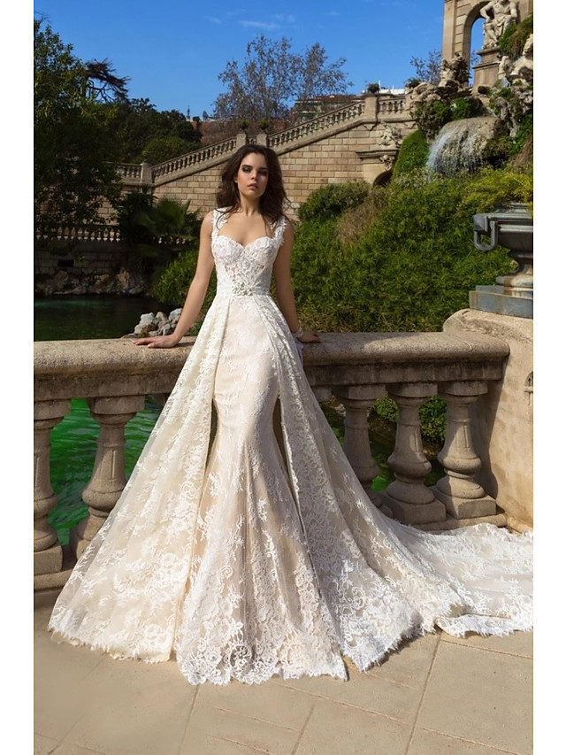Mermaid / Trumpet Wedding Dresses Sweetheart Neckline Court Train Lace Tulle Lace Over Satin Regular Straps Boho Plus Size Detachable with Appliques 2020