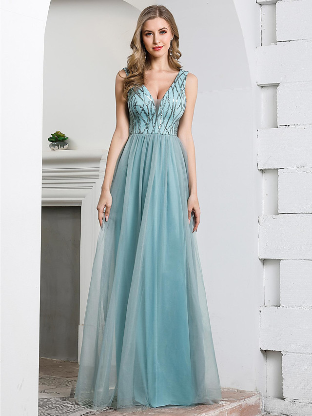 A-Line Plunging Neck Floor Length Tulle / Sequined Bridesmaid Dress with Sequin