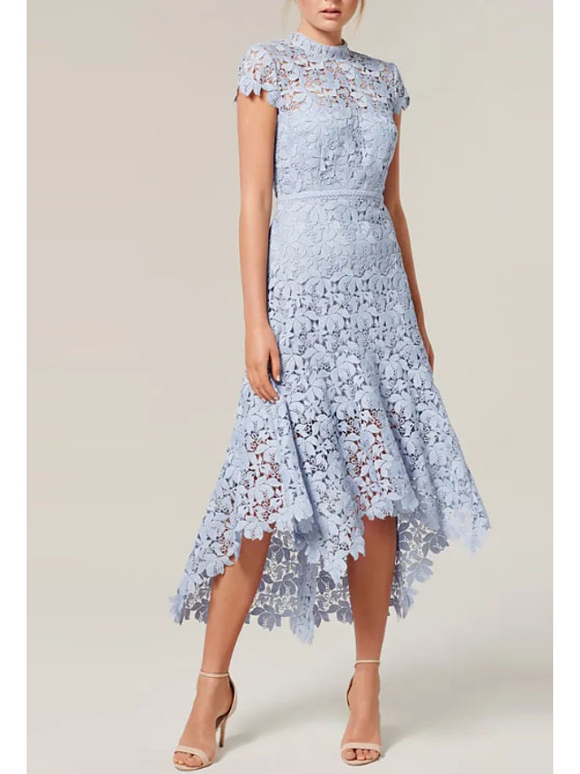 A-Line Floral Holiday Cocktail Party Dress High Neck Short Sleeve Asymmetrical Lace with Bow(s) Lace Insert 2021