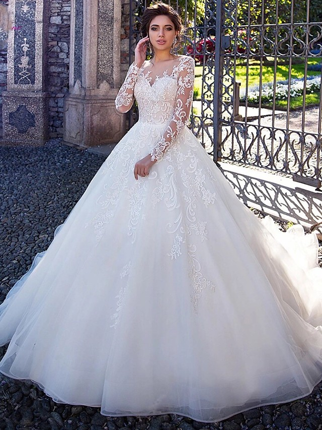 Ball Gown Wedding Dresses Lace Tulle Round Neck Court Train Long Sleeve with Appliques Bridal Dress 2020