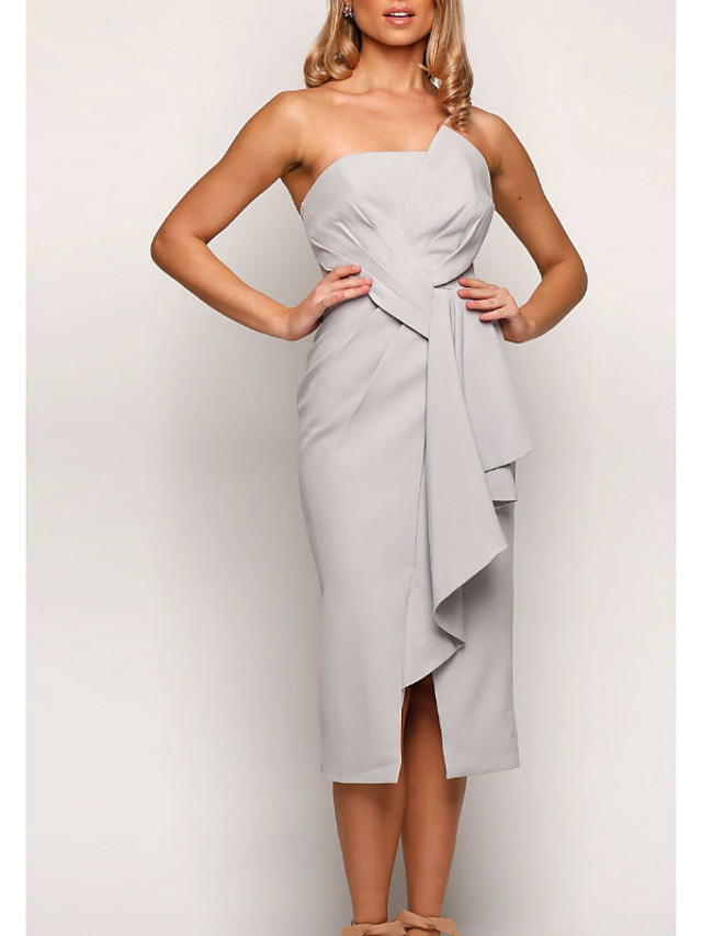 Sheath / Column Strapless Tea Length Jersey Bridesmaid Dress with Split Front / Ruching