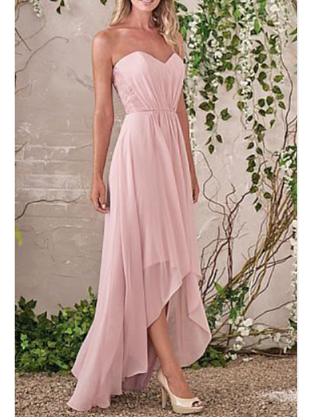 A-Line Sweetheart Neckline Asymmetrical Chiffon Bridesmaid Dress with Tier / Ruching