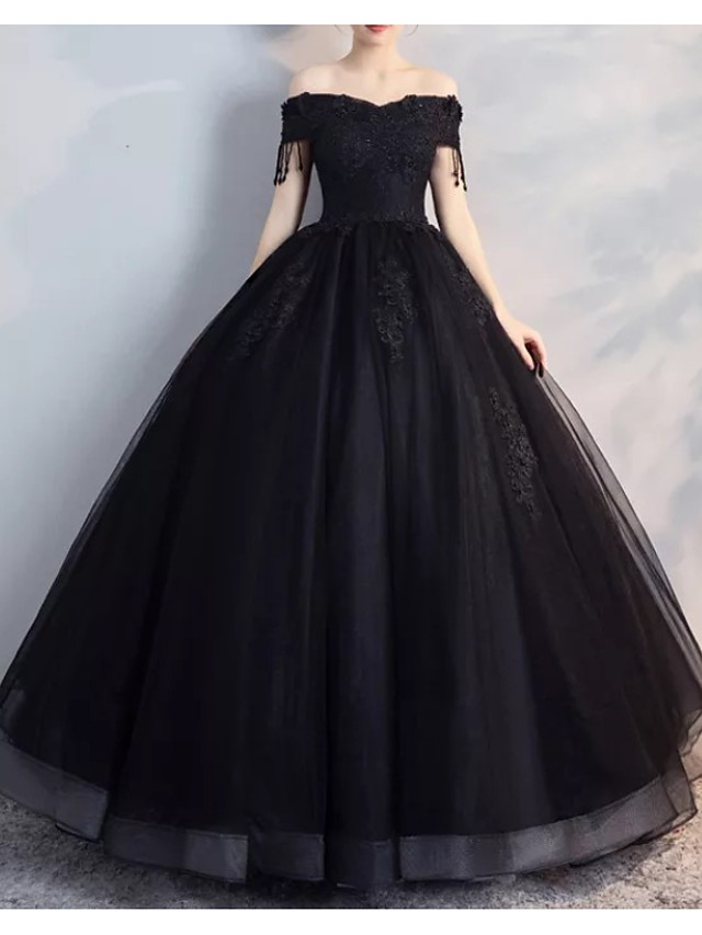 A-Line Wedding Dresses Off Shoulder Floor Length Lace Tulle Strapless Formal Black Modern with Draping Lace Insert 2020