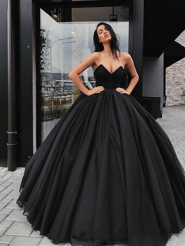 Ball Gown Wedding Dresses Sweetheart Neckline Floor Length Organza Satin Strapless Black Modern with Draping 2021