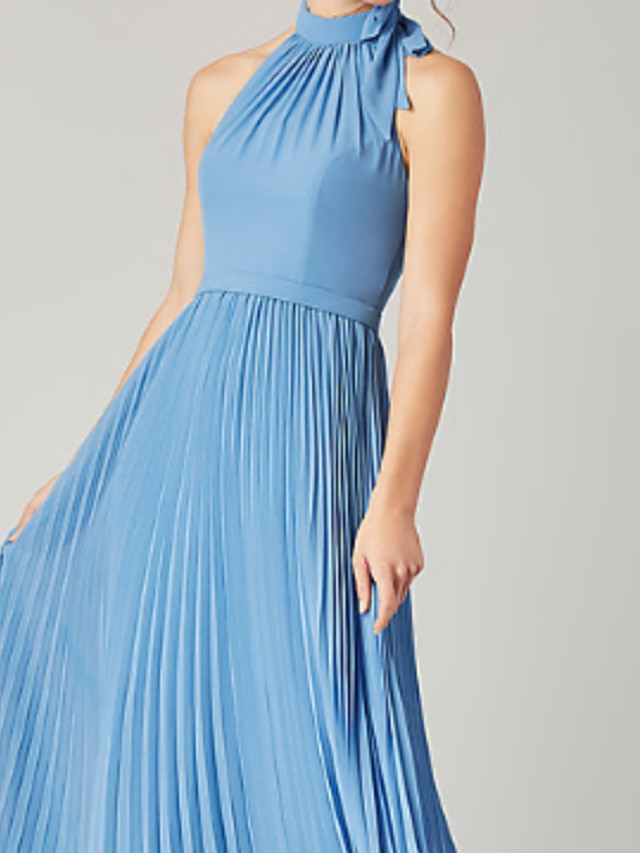 A-Line Halter Neck Floor Length Chiffon Bridesmaid Dress with Ruching