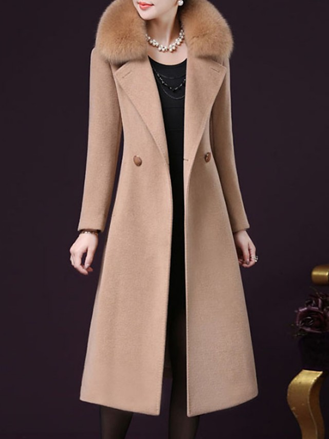Women's Going out Fall / Winter Plus Size Maxi Coat, Solid Colored Long Sleeve Cashmere / Polyester Black / Wine / Fuchsia