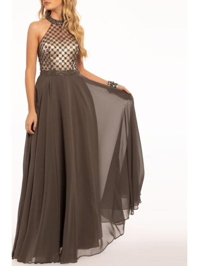 A-Line Beautiful Back Empire Wedding Guest Prom Dress Halter Neck Sleeveless Floor Length Chiffon with Pleats Pattern / Print 2020