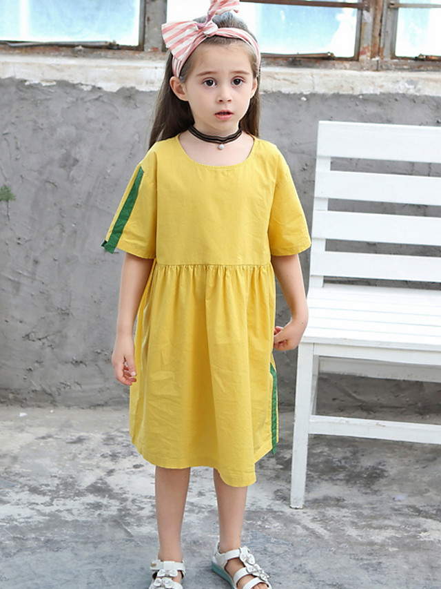 Kids Girls' Color Block Dress Yellow