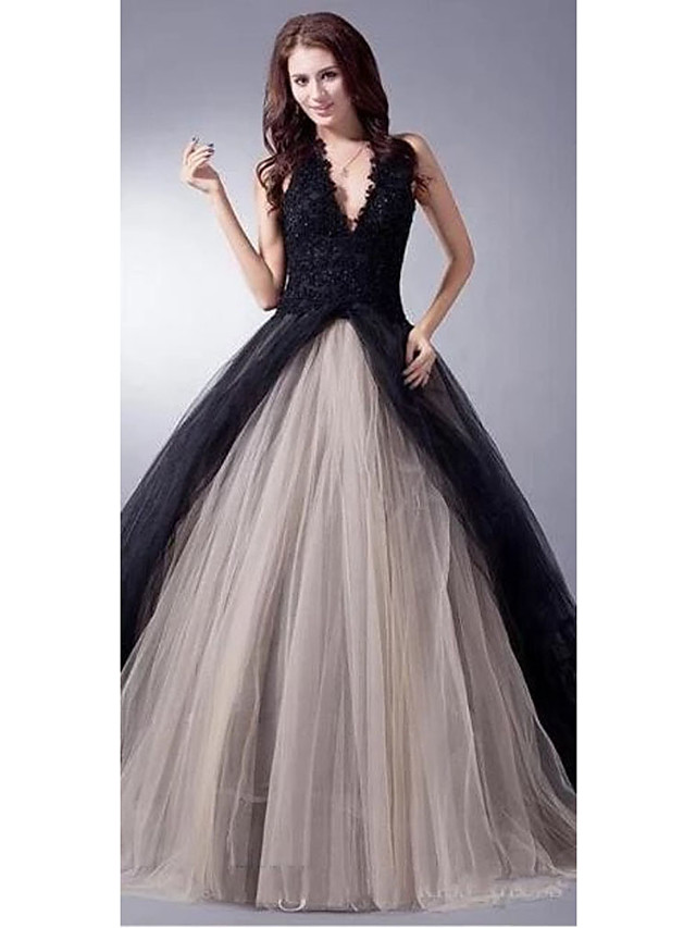 Ball Gown Wedding Dresses V Neck Sweep / Brush Train Lace Tulle Regular Straps Sexy Plus Size Black Modern with Lace Appliques 2020