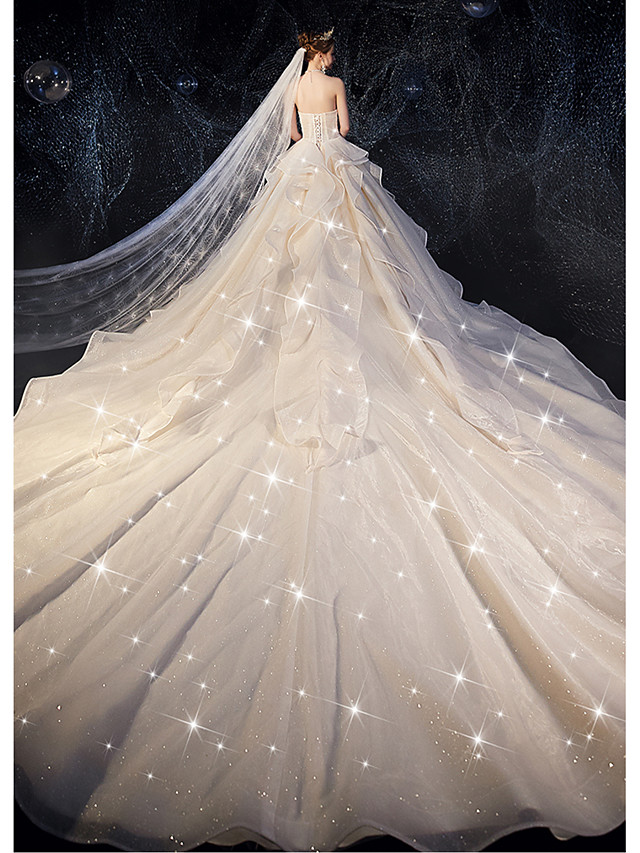 Ball Gown Wedding Dresses Strapless Watteau Train Tulle Strapless Glamorous Plus Size with Bow(s) Ruched Cascading Ruffles 2020
