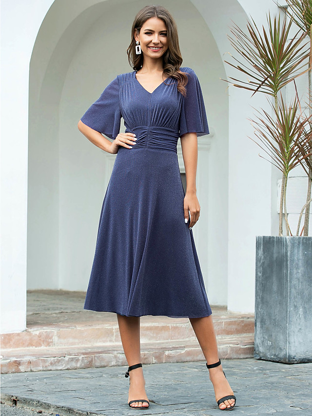 A-Line Minimalist Blue Cocktail Party Nightclub Dress V Neck Short Sleeve Tea Length Nylon Polyester with Ruched 2020