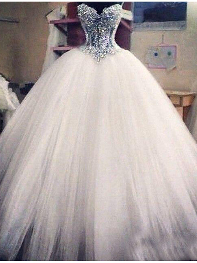 Ball Gown Wedding Dresses Strapless Floor Length Lace Tulle Sleeveless Formal Casual Plus Size with Crystals Appliques 2020