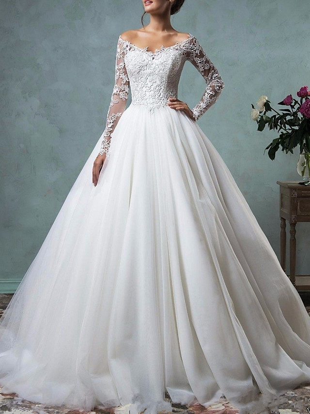 A-Line Wedding Dresses Off Shoulder Floor Length Tulle Long Sleeve Formal Plus Size with Appliques 2020