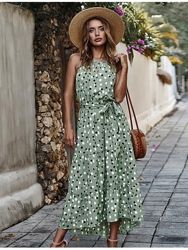 Γυναικεία Φόρεμα ριχτό από τη μέση και κάτω Μίντι φόρεμα - Αμάνικο Πουά Στάμπα Καλοκαίρι Διακοπές Λευκό Ρουμπίνι Πράσινο Ανοικτό Τ M L XL