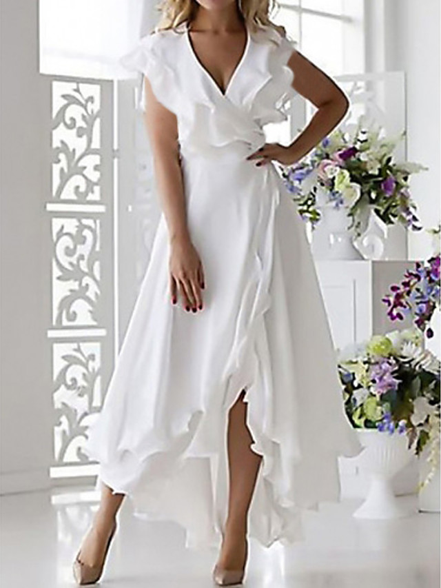 Women's Summer White Dress Elegant Solid Ruffles  2020 Blushing Pink Blue Sexy Spring & Summer Cocktail Party A Line Solid Colored V Neck S M
