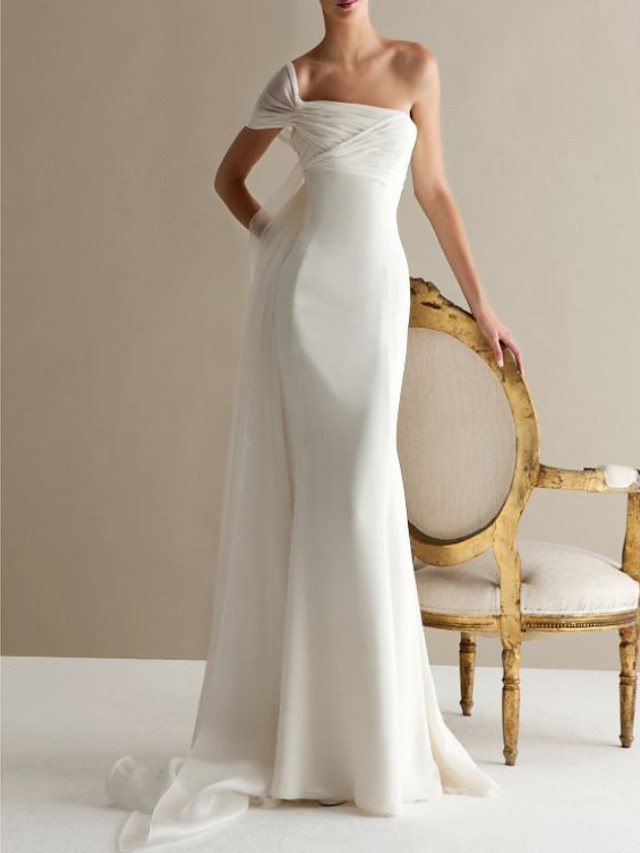 A-Line Wedding Dresses One Shoulder Sweep / Brush Train Lace Tulle Strapless Formal Plus Size with Draping Lace Insert 2020
