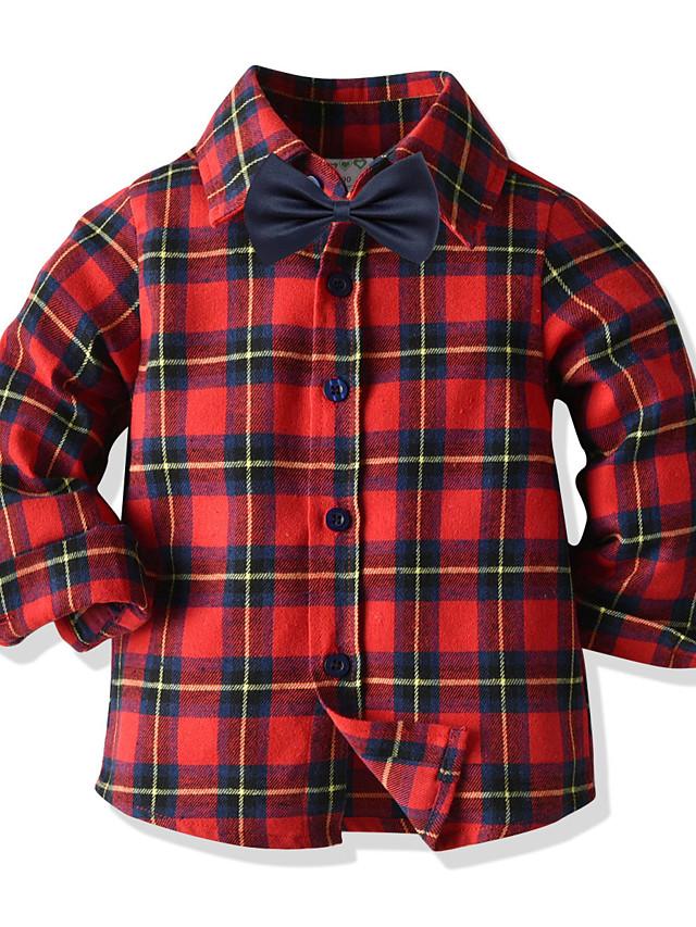 아동 토들러 남아 T 셔츠 셔츠 긴 소매 컬러 블럭 루비 어린이 탑스 여름 베이직 스트리트 쉬크 어린이날