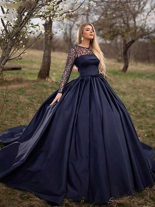 Ball Gown Wedding Dresses Jewel Neck Court Train Lace Tulle Long Sleeve Sexy Black Modern Illusion Sleeve with Lace 2020