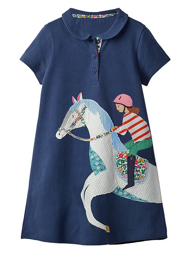 Kids Girls' Cartoon Dress Navy Blue