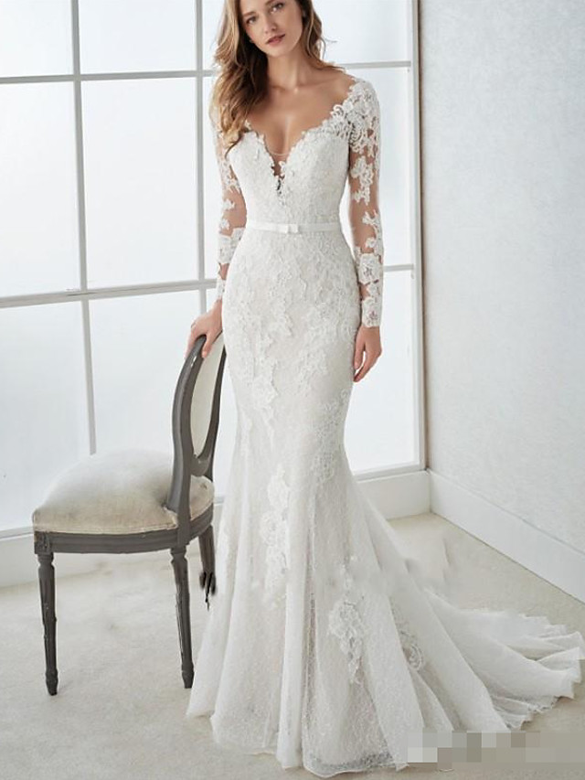 Mermaid / Trumpet Wedding Dresses V Neck Sweep / Brush Train Lace Tulle Long Sleeve Country Illusion Sleeve with 2020 / Bishop Sleeve