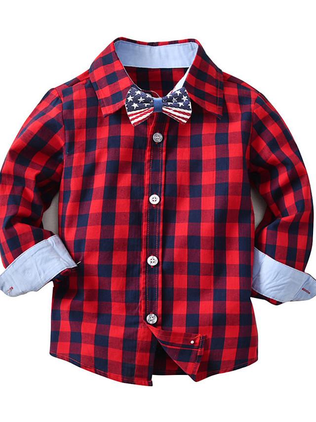 Děti Batole Chlapecké Tričko Košile Dlouhý rukáv Pepito Vodní modrá Rubínově červená Děti Topy Léto Základní Šik ven Den dětí