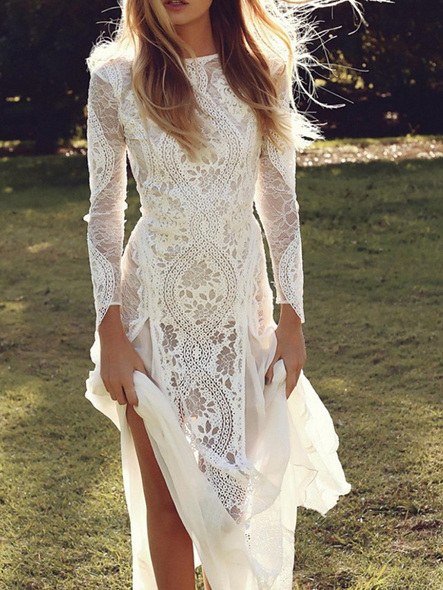 Mermaid / Trumpet Wedding Dresses V Neck Sweep / Brush Train Lace Tulle Long Sleeve Formal Boho Sexy See-Through Plus Size Illusion Sleeve with Lace Insert Appliques 2020