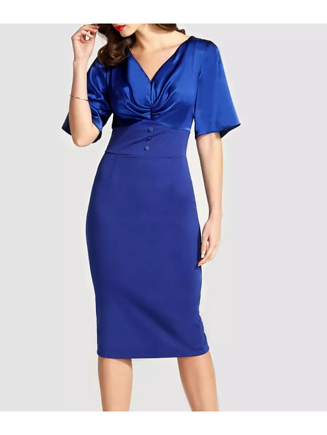Sheath / Column Hot Blue Wedding Guest Cocktail Party Dress V Neck Short Sleeve Tea Length Polyester with Buttons 2020