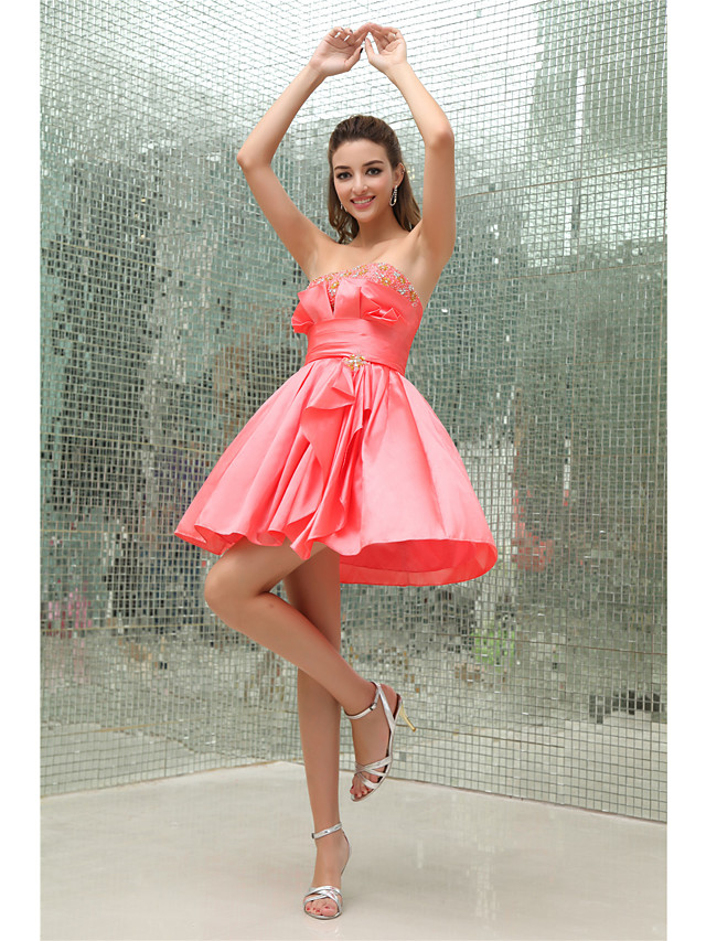 A-Line Elegant Cocktail Party Dress Strapless Sleeveless Short / Mini Taffeta with Pleats Beading 2020