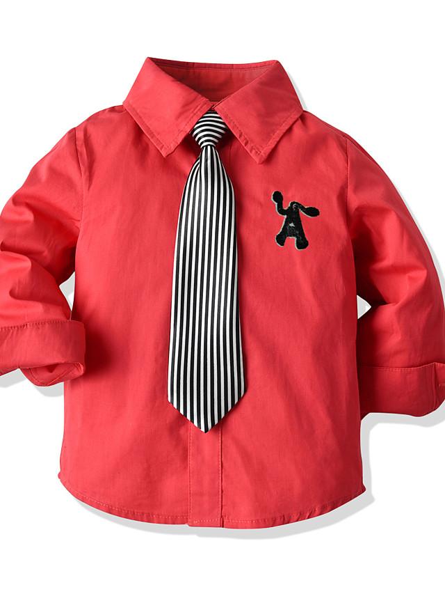 Děti Batole Chlapecké Tričko Košile Dlouhý rukáv Jednobarevné Rubínově červená Děti Topy Léto Základní Šik ven Den dětí