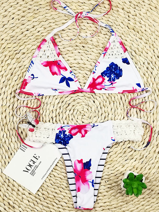 Women's Basic Blushing Pink Blue Halter Cheeky Bikini Tankini Swimwear Swimsuit - Striped Floral Geometric Print S M L Blushing Pink