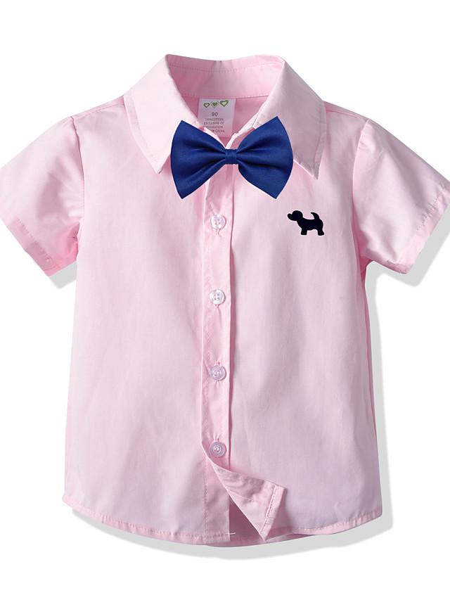 子供 幼児 男の子 Tシャツ シャツ 半袖 犬 平織り ロゴ ネクタイの結び目 ピンク 子供達 トップの 夏 ベーシック フォーマル ストリートファッション スクールユニフォーム カジュアル