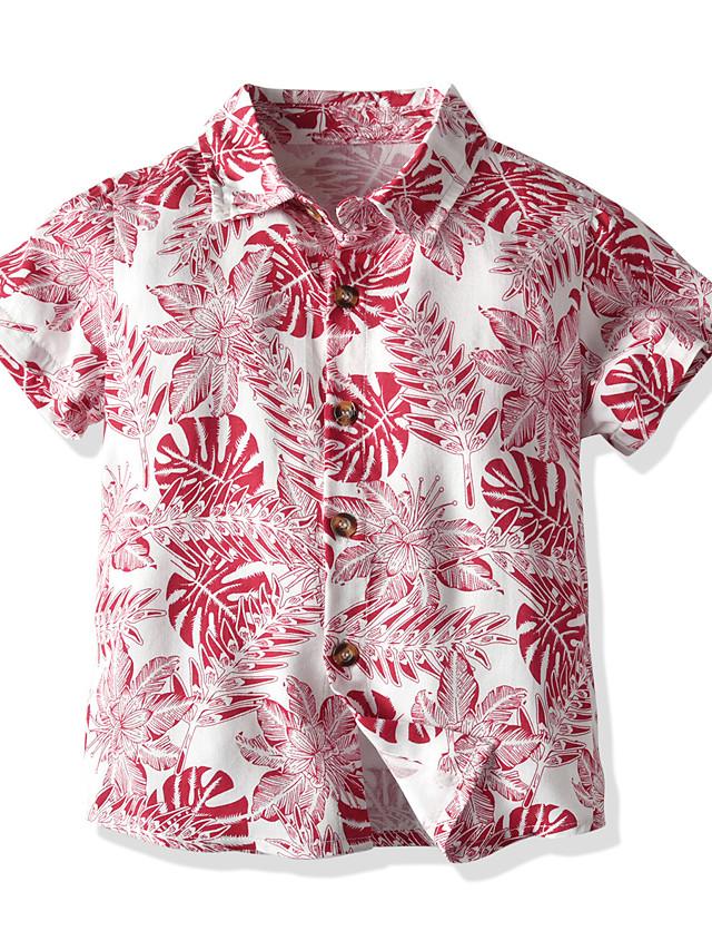 Kids Toddler Boys' Basic Street chic Color Block Short Sleeve Shirt Red