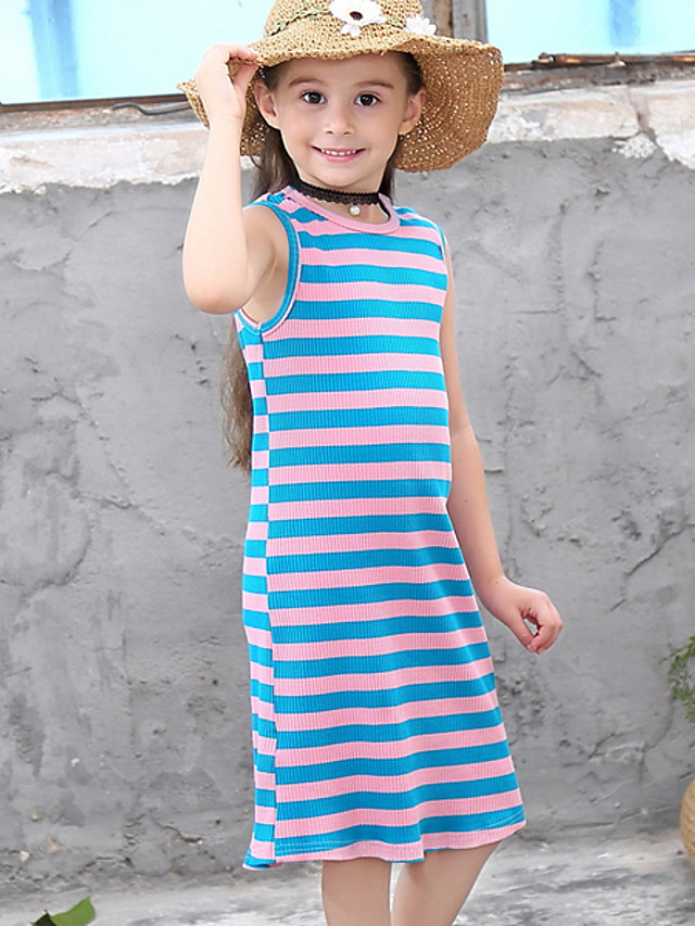 Kids Girls' Striped Dress White