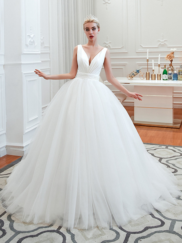 A-Line Wedding Dresses V Neck Court Train Tulle Spaghetti Strap Formal Romantic Casual with 2020