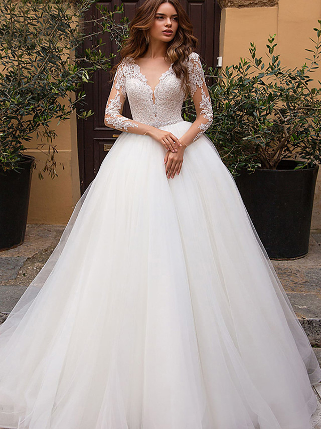 A-Line Wedding Dresses V Neck Court Train Tulle Long Sleeve Formal Casual Beach Illusion Sleeve with 2020