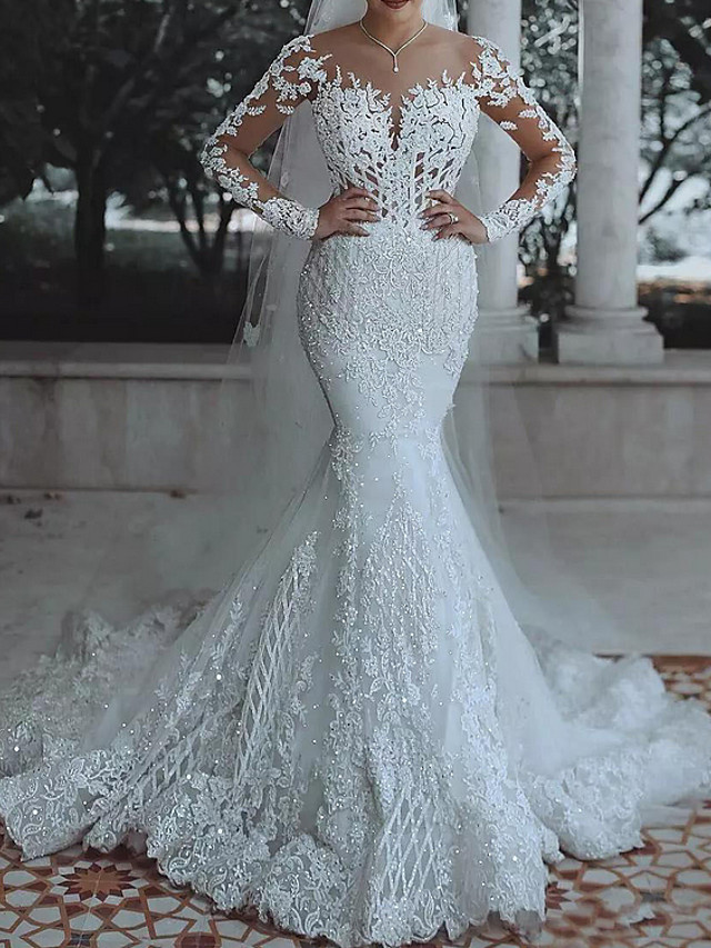 Mermaid / Trumpet V Neck Sweep / Brush Train Lace / Tulle Long Sleeve Casual Plus Size / Illusion Sleeve Wedding Dresses with Appliques 2020