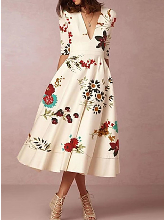 A-Line Mother of the Bride Dress Elegant Plunging Neck Tea Length Polyester Half Sleeve with Ruching 2020