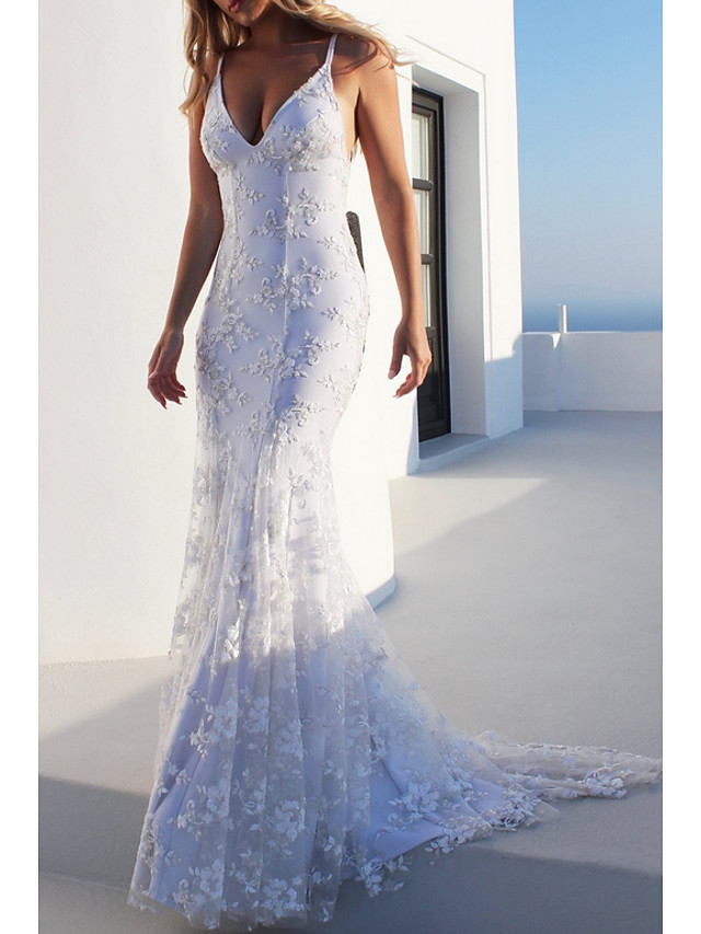 Mermaid / Trumpet Spaghetti Strap Sweep / Brush Train Polyester Beautiful Back Engagement / Formal Evening Dress with Embroidery 2020