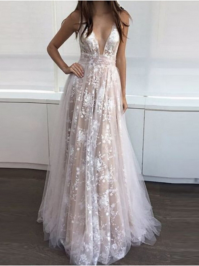 A-Line Retro Formal Evening Dress V Neck Sleeveless Floor Length Tulle with Pleats Sequin Appliques 2020