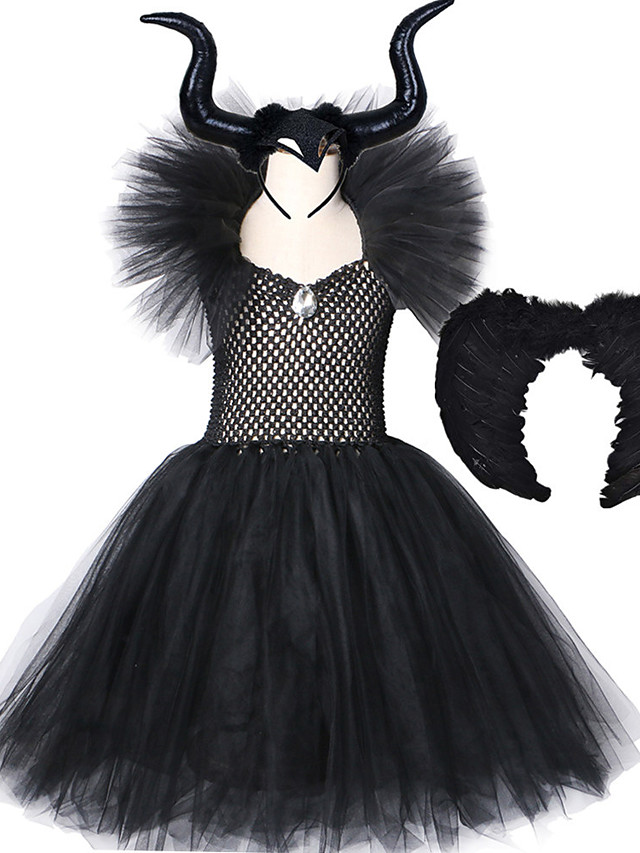 Maleficent Costumes Girls Black Tutu Dress with Horns Wings V-Neck Crystal Evil Queen Witch Dresses Kids Halloween Cosplay Wear