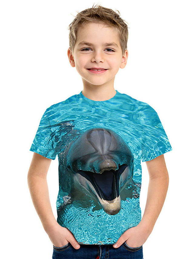 Kids Boys' Active Street chic 3D Print Short Sleeve Tee Blue