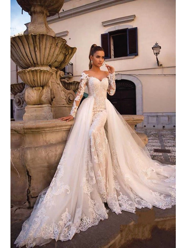 Ball Gown Mermaid Trumpet Wedding Dresses Sweetheart Neckline Court Train Lace Tulle Lace Over Satin Long Sleeve Sexy Plus Size Modern Detachable With Appliques 2020 7912254 2020 274 39