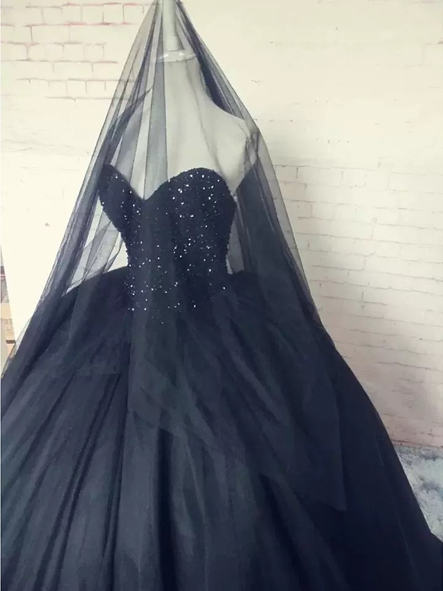 Ball Gown Wedding Dresses Strapless Sweep / Brush Train Lace Tulle Strapless Sexy Plus Size Black with Lace Beading Appliques 2020