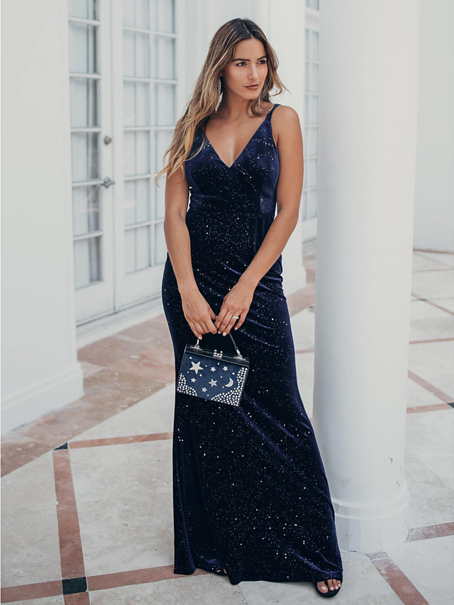 Mermaid / Trumpet Glittering Sexy Party Wear Formal Evening Dress Spaghetti Strap Sleeveless Floor Length Velvet with Sequin 2020