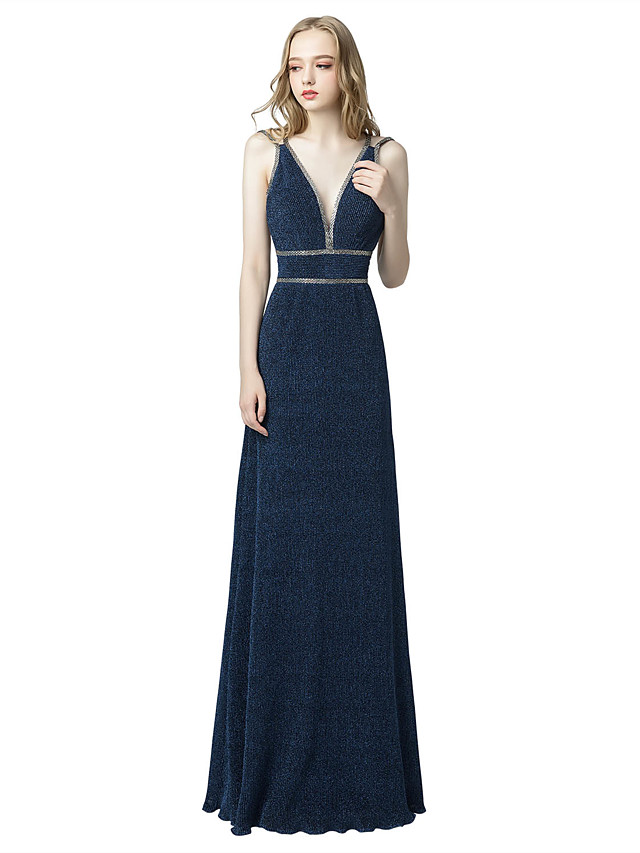 A-Line Glittering Beautiful Back Wedding Guest Formal Evening Dress Spaghetti Strap Sleeveless Floor Length Spandex with Criss Cross Beading 2020