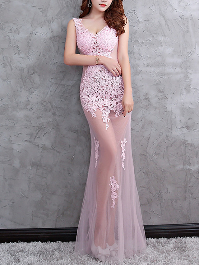 Mermaid / Trumpet Sexy Pink Party Wear Formal Evening Dress V Neck Sleeveless Floor Length Polyester with Appliques 2020