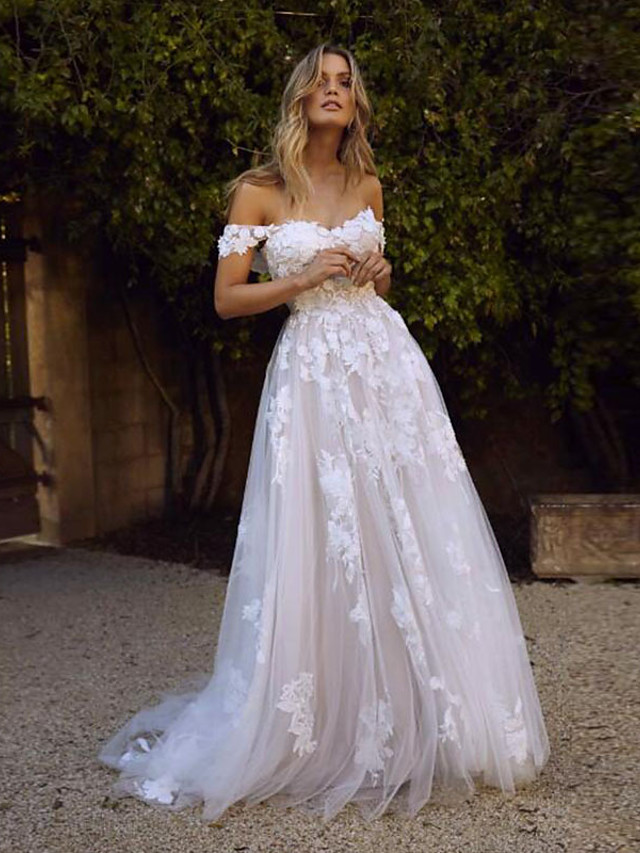 A-Line Wedding Dresses Off Shoulder Sweep / Brush Train Lace Regular Straps Country Boho with 2020