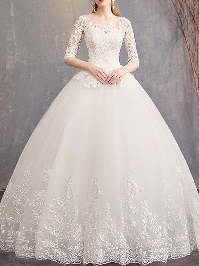 Ball Gown Jewel Neck Court Train Lace / Tulle Half Sleeve Country Plus Size / Illusion Sleeve Wedding Dresses with Lace Insert 2020