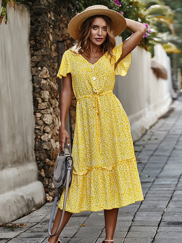 Women's Sundress Midi Dress - Short Sleeve Polka Dot Summer V Neck Holiday Red Yellow Navy Blue S M L XL